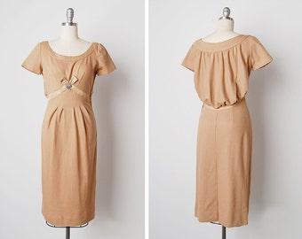 vintage 1950s dress / 50s wool dress / 1950s Carlye dress / Calais dress