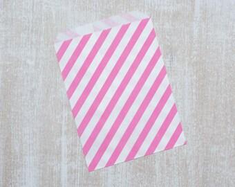 10 paper bag hot pink stripes