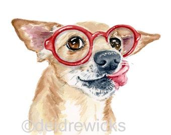 Dachshund Mix Watercolor PRINT - 11x14 illustration, Nursery Art, Dog Watercolor, Chihuahua Painting, Dog Art