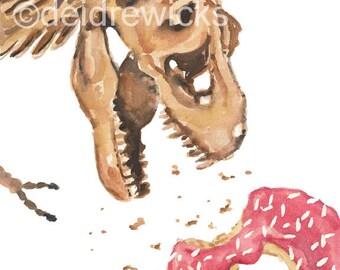 T Rex Watercolor PRINT - 11x14 Print, Dinosaur Illustration, Sprinkle Donut, Nursery Art