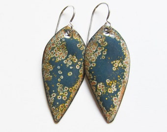 Blue and gold enameled leaf earrings Denim blue dangles Gray and yellow enamel earrings Nature inspired jewelry