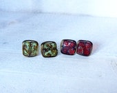 Green and Red Puzzle Piece Square Antique Gold Wire Wrapped Stud Earrings