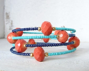 Turquoise, Navy, and Coral Beaded Memory Wire Wrap Bracelet, Gold, Navy, Coral, and Turquoise Memory Wire Bracelet, Beaded Wrap Bracelet