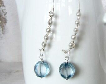 White Pearl and Light Blue Beaded Earrings, Light Blue Wire Wrapped Pearl Earrings, Silver Wire Wrapped Dangle Earrings, Birdcage Ear Wire