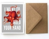 Romantic Valentine's Day Card - Vintage Octopus - I Want to Hold Your Hand Stationery Card - Single Card with Kraft Paper A2 Envelope - S09