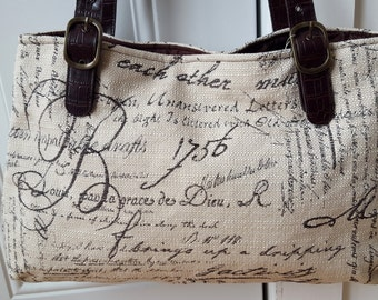 Script Fabric Handbag Purse Dark Brown Ivory White