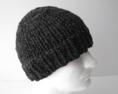 Charcoal Grey Hand Knitted Classic Unisex chunky beanie Hat