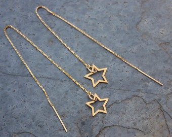 Gold Star Threader Earrings- 22k gold plated sterling silver star outline charms & ear threads- long dangly earrings- free shipping in USA