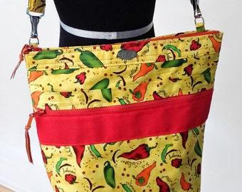 hobo tote // yellow red green orange // peppers // adjustable strap // zip top // zip pocket