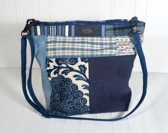 Blue Hobo Tote Bag Patchwork Zipper top Adjustable strap Inside pockets
