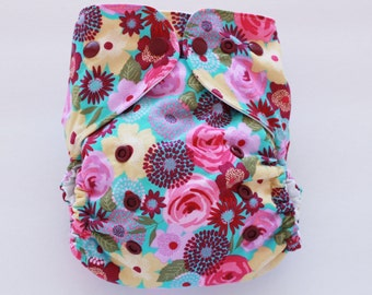 Garden flowers one size PUL cloth diaper cover OS pink garden flowers on blue ready to ship