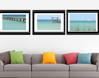 Coastal Wall Art-Set of 3 Photos-Fine Art Photography-Ocean Photography-Teal Wall Art-Turquoise Wall Art-Beach Art-Sailboat-Original Artwork