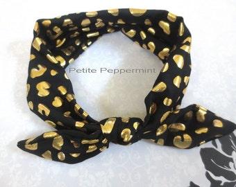 Black Baby headband, baby girl headband, newborn headband, black baby head wrap ,baby bow headband,black and gold dot baby bow headband