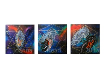 Quest Triptych, Chrysalis Galaxy Sacred Geometry Artwork