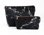 MARBLE Toiletry bag // black white marble rose gold zipper wash bag make up bag case pouch with copper by renna deluxe
