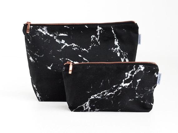 Marble Toiletry Bag Black White Marble Rose Gold Zipper