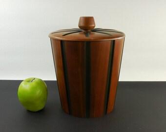 Mid Century Staved Walnut Wood Ice Bucket - Atomic Starburst - Vermillion USA