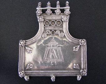 Antique Indian Amulet, Folk Style Hindu Goddess Sanjhi Devi Pendant, Rajasthan, India, 30 grams