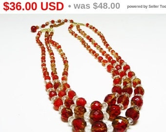 Red Crystal Beaded Necklace - Multi Strand Crystal Glass Bead Necklace - Western Germany European Vintage Jewelry