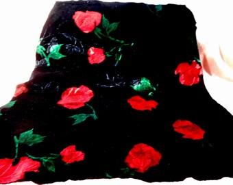 Vintage Fabric Black Velvet Red Roses Remnant Craft Supply