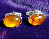 Vintage AMBER and Sterling Silver CUFF LINKS Estate Find