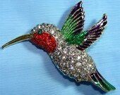 Vintage Ruby Throat HUMMINGBIRD Pin BROOCH w/ RHINESTONES