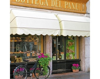 "Fine Art Color Travel Photography of Bicycle and Bakery in Italy - ""Bassano Bakery"""