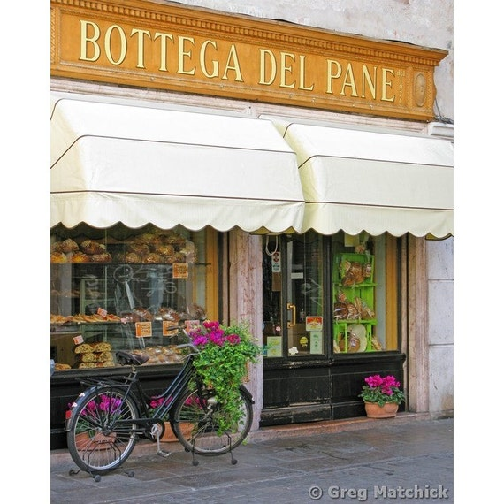 """Fine Art Color Travel Photography of Bicycle and Bakery in Italy - """"Bassano Bakery"""""""