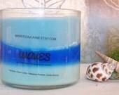 Waves Triple Tilt Layered Vegan Soy Wax Jar Candle Clean Cotton, Hawaiian Breeze & Ocean Breeze Fragrance