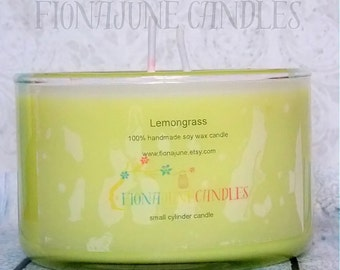 Lemongrass Soy Wax Jar Candle, Lemon Soy Candle, Small Bowl Candle, Deodorizing Candle, Aromatherapy Candle