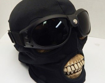 NINJA BURNING MAN Playa Mask - 2 pc set Goggles and Extreme Heat or Cold Weather Pull Over Nylon Stretch Skiing Riding Dust Mask