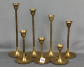 Reserve for Alyssa Set of 21 Brass Candle Sticks for Tapers, Each one a different height, Made in India