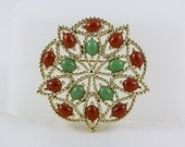 Vintage Brooch Pin Faux Coral and Jade Sarah Coventry Silver Filigree Classic elegance