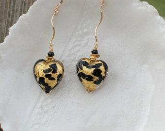 Venetian Glass earrings, Murano Gold Animal Print Earrings