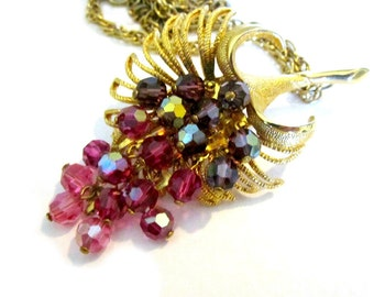 Vintage Pink Purple Park Lane Dangling Crystals Necklace Signed Brooch Large Pink Necklace Pin Gift for Her Gift for Mom Jewelry Gift Idea