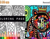 50% Off- Bear coloring, coloring book, adult coloring book, coloring pages, adult coloring pages, coloring book for adults, printable colori