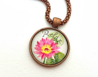 Lotus Flower Necklace- Lotus Necklace- Hand Painted Pendant- Lotus Jewelry- Lotus Pendant- Lotus Charm- Yoga Jewelry- Yoga Gifts For Her