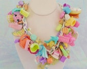 Toybox Pastel Kawaii Candy Charm Necklace Fairy Kei Kandi Decora Toy Box Rainbow Pin Blue Purple Mint Green