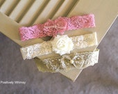 Vintage Lace Headband, Newborn Flower Headband, Newborn Headband Starter Set, Baby Headband, Vintage Pink, Ivory, Vintage Green, Set of 3