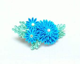 Blue kiku Japanese kanzashi hair pin