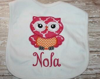 Owl Baby Bib-Monogram Baby Bib-Personalized Baby Bib-Baby Bibs-Owl-Baby-Toddler-Girl-Boy-Bibs