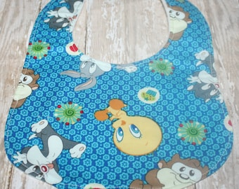 Baby Bib-Baby Boy Bib or Baby Girl Bib, Minky Baby Bib,  Baby Bib, Looney Tunes Bib
