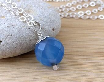 Blue Gemstone Necklace Blue Agate Pendant Necklace Faceted Gemstone Blue Gemstone Jewelry Sterling Silver Necklace Blue Stone
