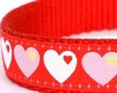 Love Hearts Dog Collar, Red Pet Collar, Valentine