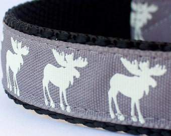 Moose Silhouettes Dog Collar, Grey Pet Collar, Cabin Chic Collar