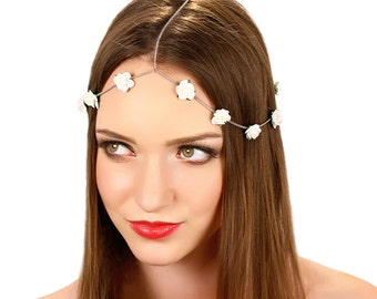 Boho Bridal Headpiece / Floral Chain Headpiece / Wedding Flower Headband /  Kristin Perry