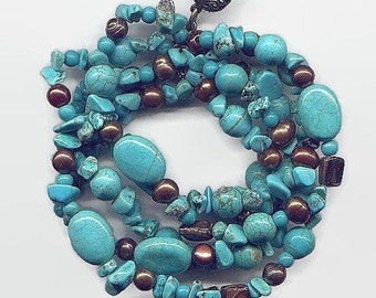 Turquoise and freshwater pearl bracelet