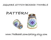 Beaded Thimble with Swarovski Rivoli Top - Delica Beads PDF PATTERN - Square Stitch - Vol.28 - The Cornflower Thimble