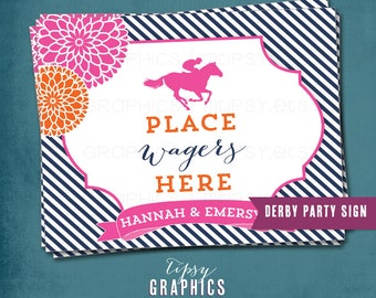 Kentucky Derby Party Sign. Mint Julep Bar. Place Bets Here.  Your Choice of text and Colors by Tipsy Graphics. Roses. Hats. Horse Jockey