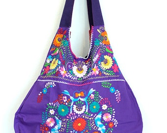 Mexican Embroidered Handbag Merida Hobo Purple